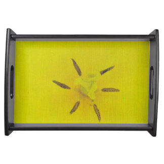 Small Serving Tray, Black with yellow design Food Trays