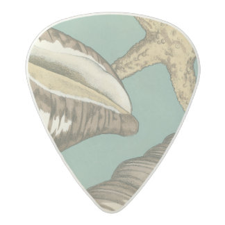 Small Shell Trio on Teal Acetal Guitar Pick