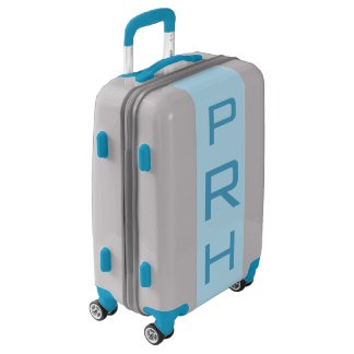 SMALL Silver + Light Blue Monogrammed Carry On Luggage