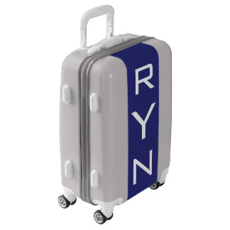 SMALL Silver + Navy Blue Monogram Carry On Luggage