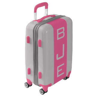 SMALL Silver + Pink Monogrammed Carry On Luggage
