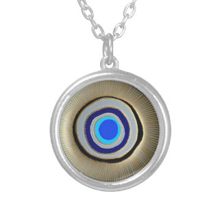 Small Silver Plated Round Necklace/ Greek Evil Eye Silver Plated Necklace