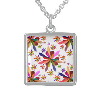 Small Square Necklace with Stylized Flower 1
