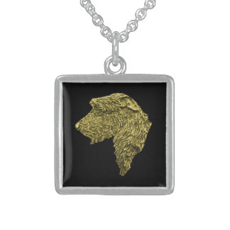 Small Square Stirling Silver Necklace (Gold/Black)