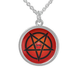 Small Sterling Silver Round Necklace,SATAN Round Pendant Necklace