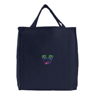 Small Surfer with palms Embroidered Bags