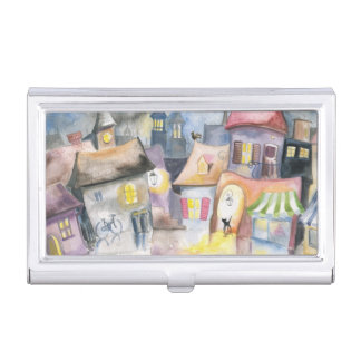Small town at night business card holder