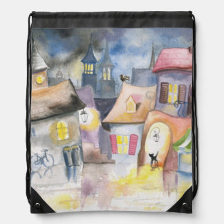 Small town at night drawstring bag