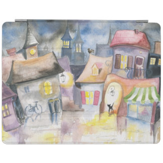 Small town at night iPad cover