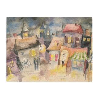 Small town at night wood prints