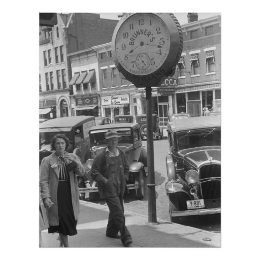 Small Town, Big Clock, 1930s Poster
