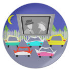 Small Town Drive-In Movie Melamine Plate