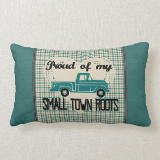 Small Town Roots Lumbar Pillow (Turquoise)