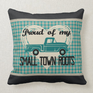 Small Town Roots Throw Pillow (Black & Turquoise)