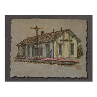 Small Town Train Station Postcard