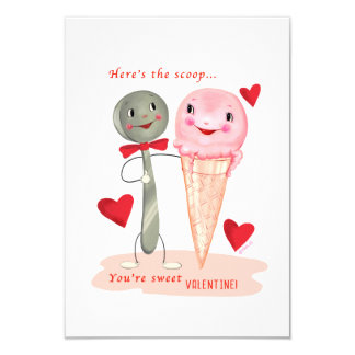 Small traditional IceCream Vintage Valentine Card
