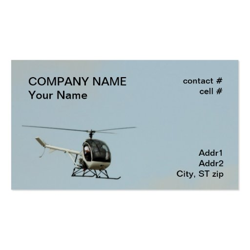 small training helicopter business cards