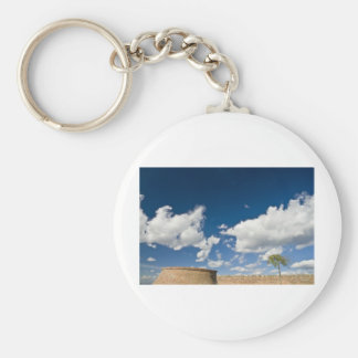 small tree, big sky and brick wall basic round button key ring