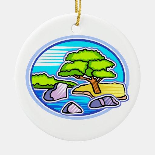 small tree by water bonsai like design christmas tree ornament
