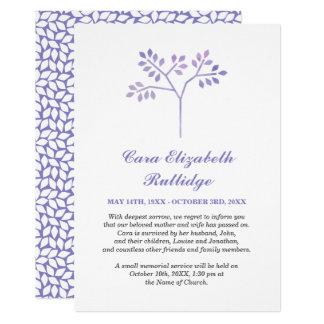 Small Tree Lavender & White Memorial Announcement