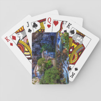 Small village Blagaj on Buna waterfall, Bosnia and Playing Cards