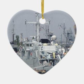 Small Warship Ceramic Heart Decoration