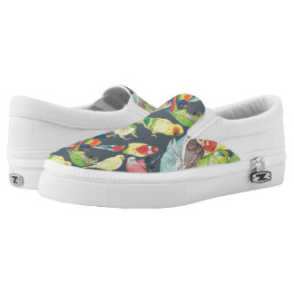 Small Watercolor Parrots Slip On Shoes