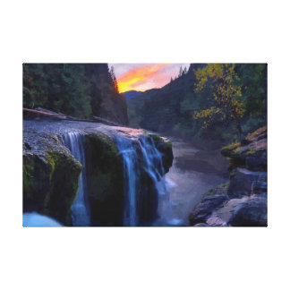 Small Waterfalls Oil Painting Print Canvas Print