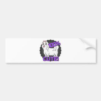 Small white dog - 100% cute! bumper sticker