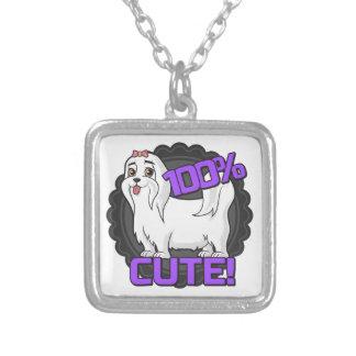 Small white dog - 100% cute! square pendant necklace