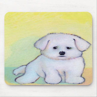 Small white dog art drawing cute Maltese puppy Mouse Pad