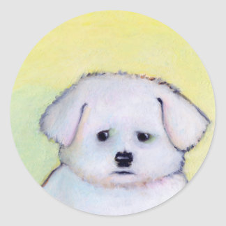 Small white dog art drawing cute Maltese puppy Round Sticker