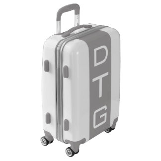 SMALL White + Gray Monogrammed Carry On Luggage