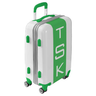 SMALL White + Green Monogrammed Carry On Luggage