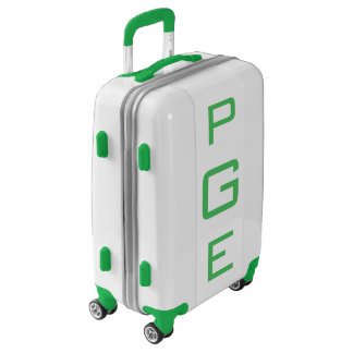 SMALL White + Green Personalized Monogram Carry On Luggage