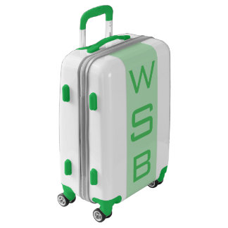 SMALL White + Light Green Monogram Carry On Bag Luggage