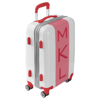 SMALL White + Light Red Monogram Carry On Luggage