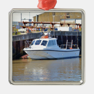 Small White Motorboat Christmas Ornament