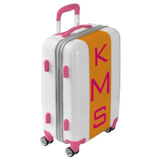 SMALL White+Orange+Pink Monogram Carry On Luggage
