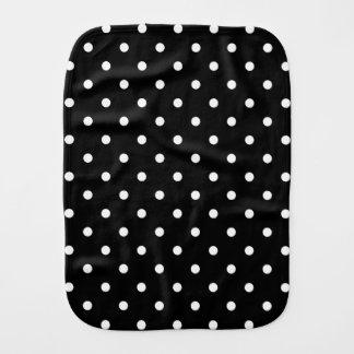 Small White Polka dots black background Baby Burp Cloths