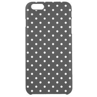 Small White Polka dots black background Clear iPhone 6 Plus Case
