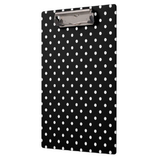 Small White Polka dots black background Clipboard