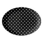 Small White Polka dots black background Porcelain Serving Platter
