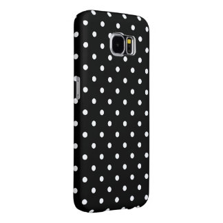 Small White Polka dots black background Samsung Galaxy S6 Cases