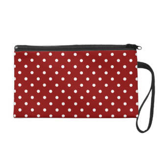 Small White Polka dots cherry red background Wristlet