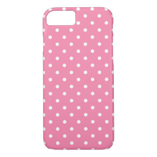 Small White Polka Dots On Hot Pink iPhone 8/7 Case