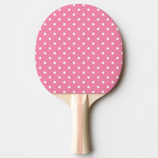 Small White Polka Dots on hot pink Ping Pong Paddle