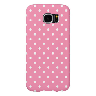 Small White Polka Dots on hot pink Samsung Galaxy S6 Cases