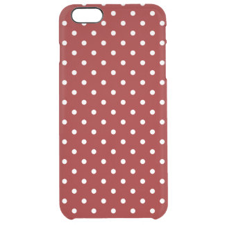 Small White Polka dots red background Clear iPhone 6 Plus Case