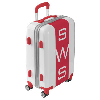 SMALL White + Red Monogrammed Carry On Luggage